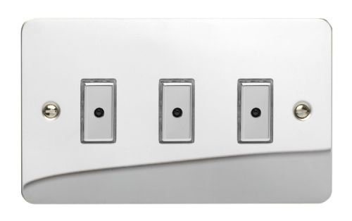 Varilight JFCE103 Ultraflat Polished Chrome 3 Gang V-Pro Remote/Touch Master LED Dimmer 0-100W